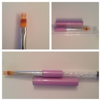 Кисть для омбре с розовой ручкой с кристаллами